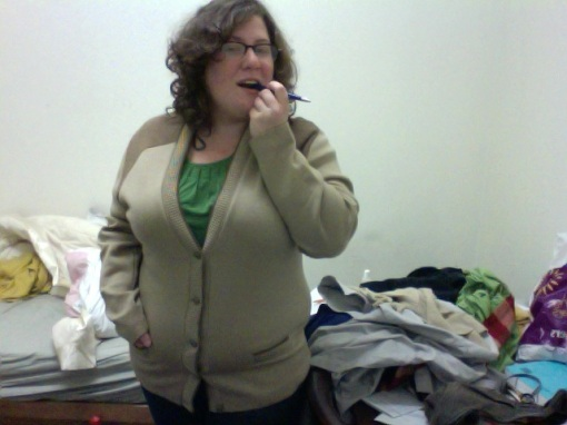 "this is my Paul Kinsey cardigan. ""But...it's MOHAIR!"" Mine isn't, obviously."